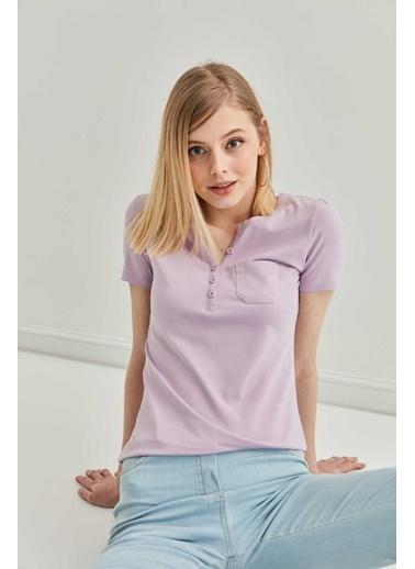 Vitrin Yaka Düğme Detaylı Pamuk Bluz Lila
